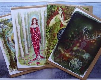Celtic Goddesses pack of 4 A5 Art Cards