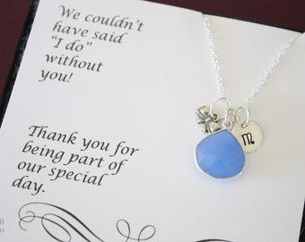 9 Tie the Knot Bridesmaid Personalized Necklace Blue, Bridesmaid Gift, Blue Gemstone, Sterling Silver, Initial Jewelry, Teardrop, Monogram