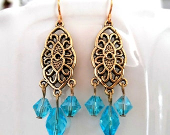 Gorgeous Grecian Waterfall Earrings Beach Wedding Earrings Something Blue New US Blue Crystal Gold Plated Chandelier Dangle Drop Aquamarine