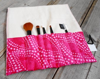 Makeup Brush Roll, Cosmetic Brush Roll - Pink Dot