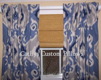 """Blue Ikat Curtains,Navy,Grey Curtains,Navy Curtains, Custom Curtains,Pair Drapery Panels, Blue and Grey Curtains,24"""" Wide,52"""" Wide"""