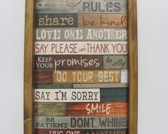 "Family Rules Wall Decor,Our Family Rules, Rustic Shadowbox Frame, 10""x19"",Marla Rae"