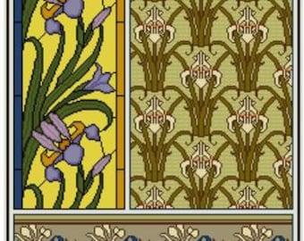 Iris Cross stitch pattern PDF Floral Botanical design chart Maurice Verneuil Art Nouveau