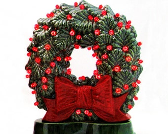 Old Fashioned Ceramic Christmas Wreath Big Red Bow Double Sided Electric