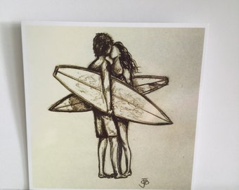 Retro biro sketch surfers kissing love artwork square blank greetings card surfart surfing surfer surf girl valentines
