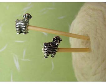Knitting needles 4 mm bamboo decorated with a sheep