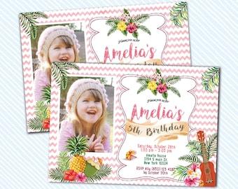 Digital Printable Luau / Aloha Birthday Invitation. Girl Birthday