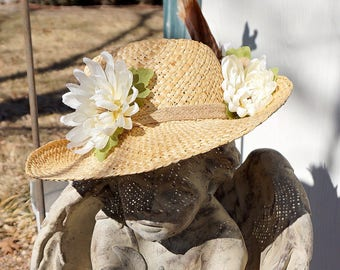 Straw Hat, Straw Hat for Women, Women's Straw Hat, Embellished Straw Hat, Womens Hat, Hat for Women, Summer Hat, Spring Hat, Hat with Flower