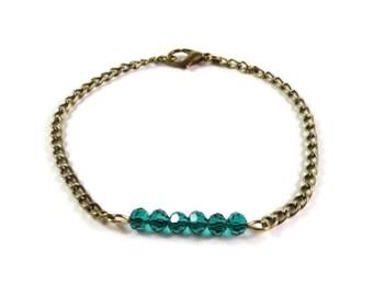 Teal Green Crystal Bracelet, Beaded Bar Bracelet, Bronze Metal Chain Bracelet, Antique Brass, Simple Row Bracelet, Women's Beadwork Jewelry