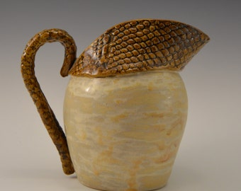 Ceramic pitcher, stoneware pitcher with textured spout
