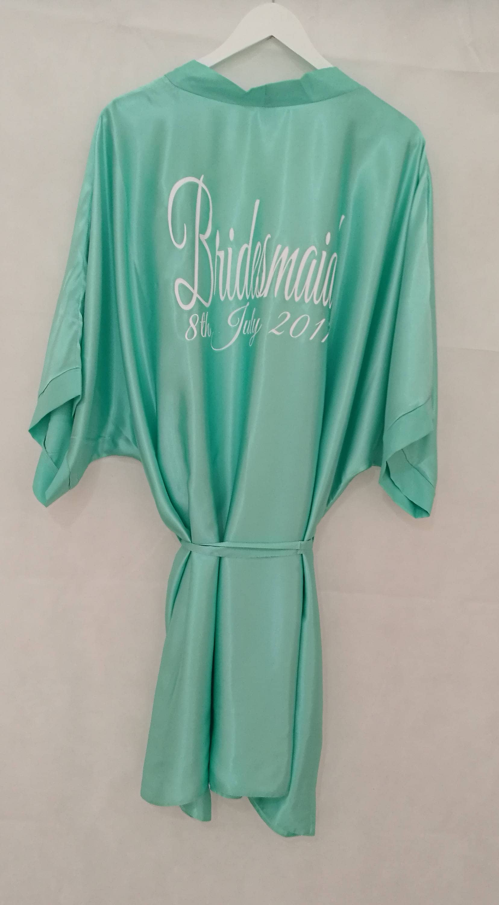 Mint Green Bridal Robe, Personalised Dressing Gown, Bridesmaid Gift ...