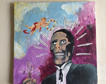 "Original Art ""Igor's Date"" Acrylic Painting on Plywood"