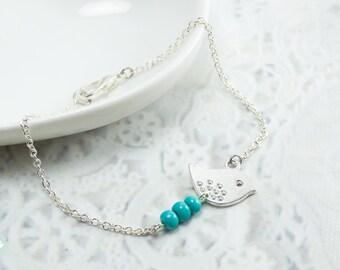 Bird bracelet, bird charm bracelet, silver bracelet, turquoise bead, charm bracelet, cute bracelet, friendship bracelet, silver chain