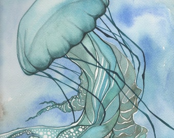 Turquoise JELLYFISH 5 X 7 print of detailed watercolour painting in elegant sea foam with aqua tentacles and lace delicacy, sea ocean love