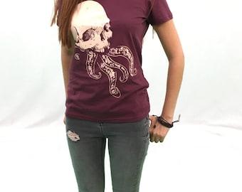 Pastel goth clothing grunge tshirt emo skull red burgundy womens indie tentacles tee