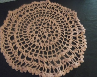 Hand Crocheted 10 Inch Round Dusty Rose Doily