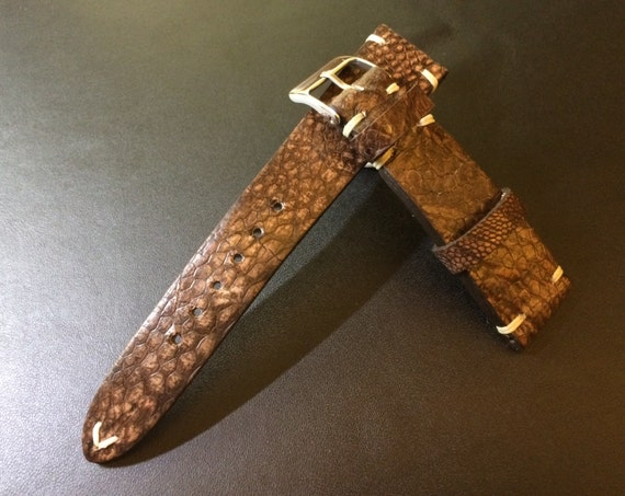 Ostrich leg Leather Vintage  Strap 20mm - 100% handmade, Rare, hard to find, Best Quality and Deal Guarantee!!