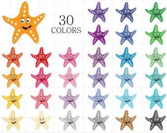 Starfish Clipart, Star Fish Clip Art, Fish Clipart, Colorful Starfish, Rainbow Starfish, Digital Starfish, Sealife Clipart, Star Clipart