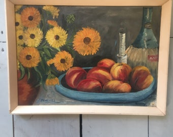 PEACHES oil painting original artwork
