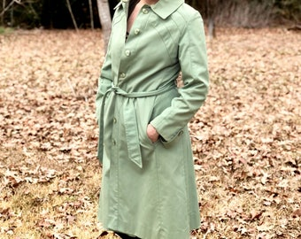 VINTAGE Mint Green Sears All Weather Coat 70s S/M