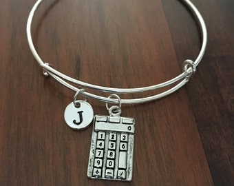 Calculator Initial bracelet, math bracelet, accounting bracelet, gift for math teacher, calculator jewelry, finance jewelry