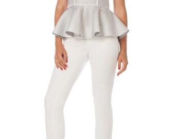 Blouse with stripes Blouse with basque Designer blouse Stylish blouse Fashionable blouse Original blouse Exclusive blouse Evening blouse