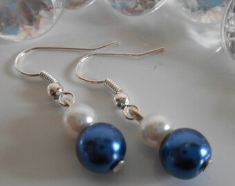 Pair of dark blue and white pearls wedding earrings