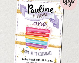 1st birthday, first birthday, girl invitation, gold glitter, birthday invitation, printable invitation, one, 1st birthday invite, invitation