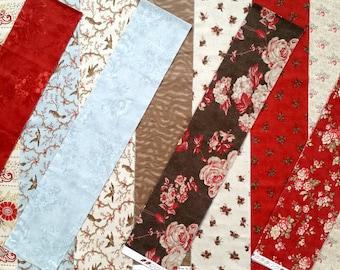 Park Avenue KIT - 3 Sisters Moda Fabric Eighth Yard Strips + Christmas Craft Pattern - Box of Fat Eighths