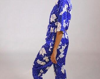 Vintage BLUE leaf print Jumpsuit Onesie Short Sleeved Women's Size SMALL
