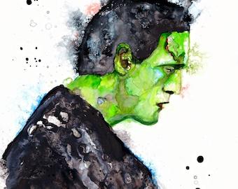 Frankenstein: Frankenstein art gothic home decor horror Halloween print Frankenstein Monster art movie room art Horror decor