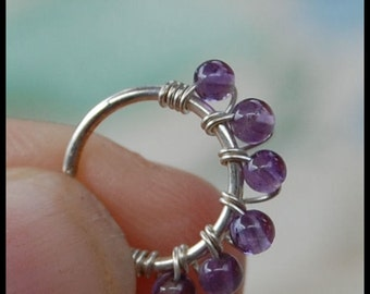 Amethyst and Silver Nose Ring/ Gemstone Nose Jewerly / Silver Nose Hoop / Unique Wrapped Nose Ring - CUSTOMIZE