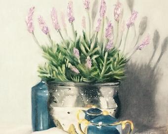 "Original oil painting of lavender, 12""x12"", Florida artist"