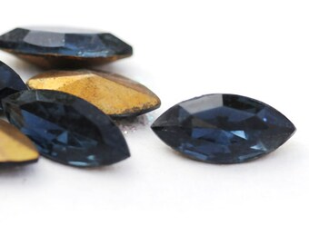 VINTAGE 15x7mm Montana Sapphire Blue Glass Navettes from Czechoslovakia, Faceted Glass, Foiled Backs, (K1-R3-C5),Quantity 6
