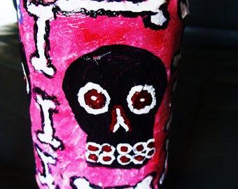 Skull And Bones Protection Altar/Stash Jar Papier Mache