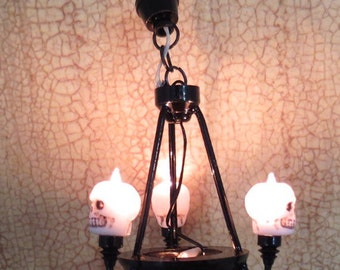 Dollhouse Miniature Halloween Skeleton Chandelier