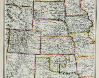 Antique Map : Central United States, Midwest, Harmsworth c. 1907. Lovely Pastel Colours