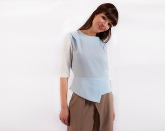 Work Top, Women Top, Futuristic Clothing, Blue Top, Japanese Clothing, Minimalist Blouse, Oversized Top, Bohemian Clothing, Elegant Top