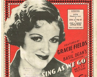 Sing As We Go, Gracie Fields,  Sheet Music Download, Vintage Sheet Music