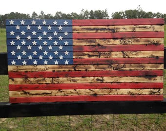 19x36 Fracture burned American Flag