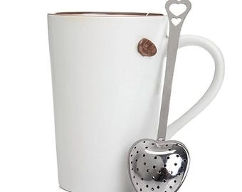 Stainless Steel Heart Shaped Tea Strainer Infuser Spoon