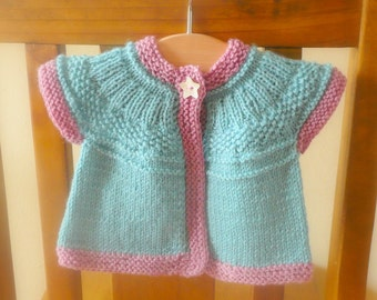 Knitting Pattern Cardigan Sweater -  Seren Top Down Seamless Yoked (6 Sizes, 0 - 7 yrs)