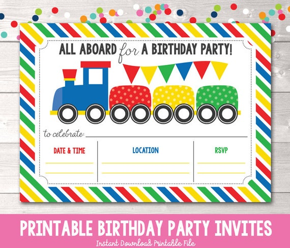 Train Birthday Party Invitation Instant Download Boys Birthday