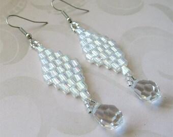 Drop beaded earrings crystal clear glass