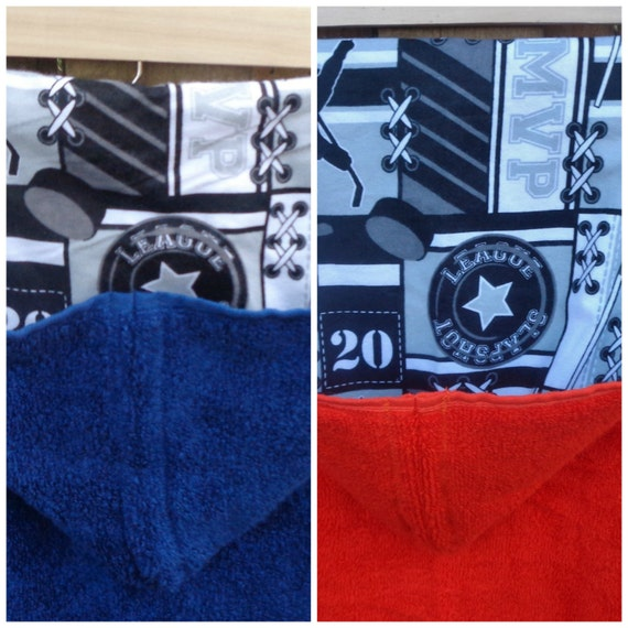Personalized Hockey Towels: Hooded Bath Towel For Boys With Hockey Flannel Personalized