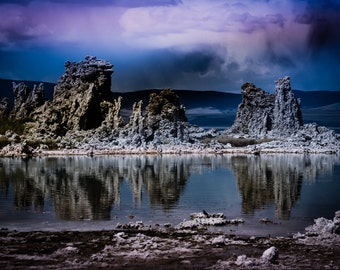 The Fairy Mineworks Mono Lake tufa towers Fantasy Dreamland blue rose purple white  water reflections