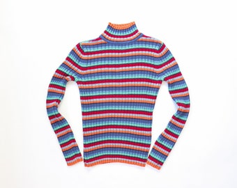 90s Striped Knit TOMMY HILFIGER Y2k Top Mock Neck Jumper RIBBED Sweater Rainbow Stripes Shirt 1990s Stretch Vaporwave Kawaii Aesthetic Small