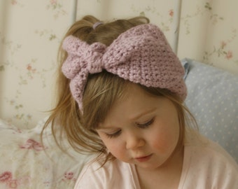 CROCHET PATTERN bow headband headwrap Eileen with a big bow (baby/ toddler/child/adult sizes)