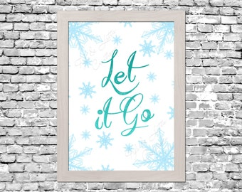 Frozen Let It Go White Wall Art Printable Instant Download