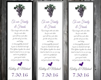 Wine Rustic Vineyard  100 Wedding personalized and printed Bookmarks Favor